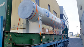 A pipeline inspection gauge trap being transported from the RMA plant at the Bahrain International I